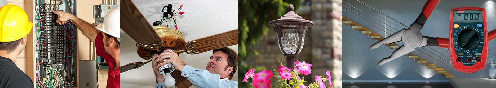 electricians repairing and installing electrical fixtures
